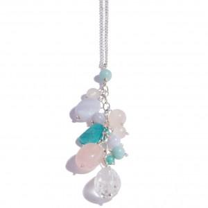 Sautoir Balloons EDENDROPS : Amazonite, Calcédoine, Quartz rose, Cristal de roche et chaîne d'argent 925