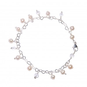 Bracelet breloques Edendrops : Fiore Bianco - Perles d'eau douce et Cristal de roche