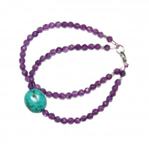 Bracelet Femme Améthyste & Turquoise