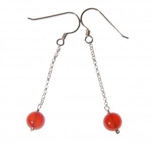 Boucles d'oreilles Cornaline sur chaînette - EDENDROPS