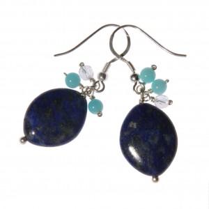 Boucles d'oreilles Caiubi (feuilles bleues) : lapis lazuli, amazonite, cristal de roche