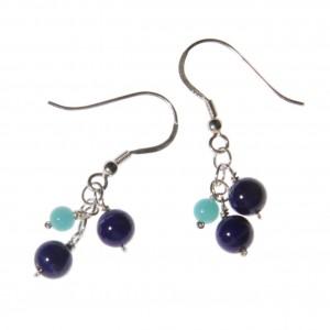 Boucles d'oreilles Caiubi (feuilles bleues) II - grappe de lapis lazuli et amazonite sur argent