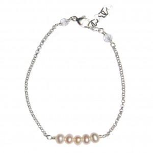 Bracelet chaînette d'argent et perles d'eau douce blanches - EDENDROPS