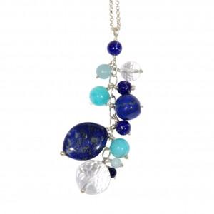 Sautoir Caiubi (feuilles bleues) : Chaîne argent, lapis lazuli, amazonite et cristal de roche - EDENDROPS