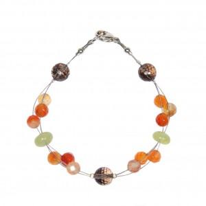 Bracelet Mandarine Style : Cornaline, Jade de Chine et Quartz fumé (EDENDROPS)