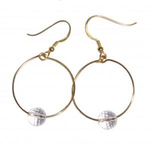 Boucles d'oreilles dorées Créole Cristal de roche -  par Edendrops