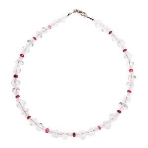 Collier enfant Rosa en pierres fines : Cristal de roche, Quartz rose et Tourmaline rose EDENDROPS