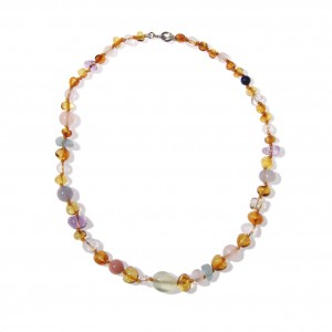 """Collier """"Variations d'ambre"""" - fil jaune"""