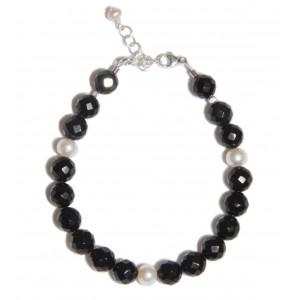 Bracelet Preto e Branco EDENDROPS : Tourmaline noire et perle d'eau douce